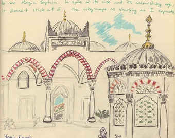Travel Sketch: Yeni Cami (Sahn), Istanbul