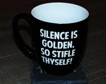 Custom engraved 16oz Bistro Mugs, personalized mugs, Laser Engraved Mugs, Black with White lettering