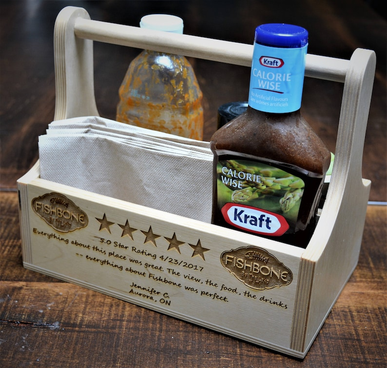 Grill Caddy backyard patios. Handmade Wood Box Engraved with anything you like Condiment Holder Perfect for Restaurants or home bars