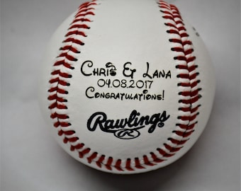 Genuine Rawlings Leather Baseball Custom Engraved - Not Printed - Any text any font Groomsman Gift Best Man Gift Wedding Gift Newborn Gift