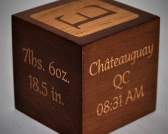 Custom engraved Solid Maple baby blocks, personalized baby block. Comes with free gift box - Walnut stain