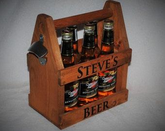 Beer Tote, 6 pack, Handmade Beer Carrier, Personalized and laser engraved Wooden Beer Tote, Six Pack, Engraved Beer Carrier, Beer case
