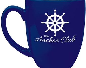 Custom engraved 16oz Bistro Mugs, personalized mugs, Laser Engraved Mugs, Blue with White lettering