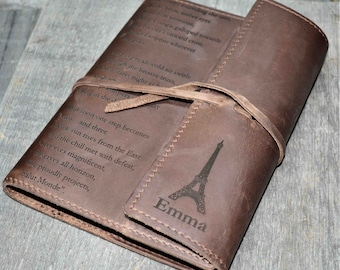 Refillable Writer's Log large Journal, Leather Journal, Personalized, Engraved , Diary, Notebook, Engraved Diary, Genuine Leather
