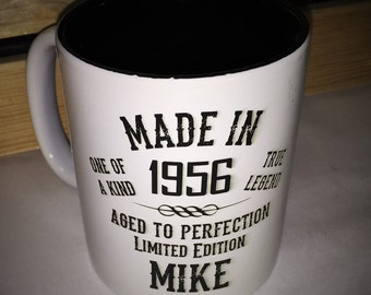Custom engraved mugs, personalized mugs, Coffee Mug Made in Aged to perfection