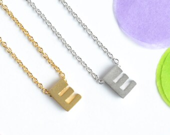 Upper Case 'E' Initial Necklace, Silver or Gold Plated Letter E Necklace | Little Wren