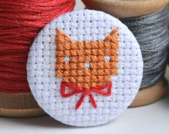 Orange Cat Pin with Red Bow | Cross Stitch Cat Pin | Ginger Cat | Hand Stitched Cat Brooch | Little Wren