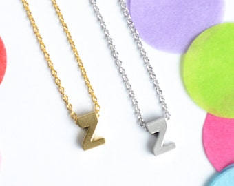 Upper Case letter 'Z' Initial Necklace | Letter Z Necklace | Gold or Silver Z Necklace | Little Wren