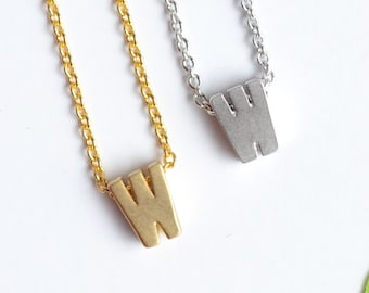 Upper Case 'W' Initial Necklace, Silver or Gold Plated Letter W Necklace | Little Wren