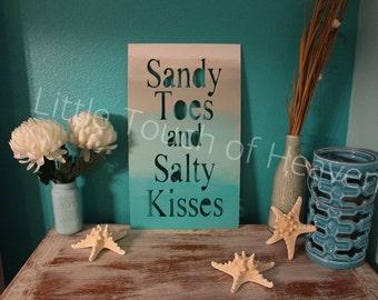 "20"" Sandy Toes and Salty Kisses Wood blank / DIY / unpainted/ sanded"