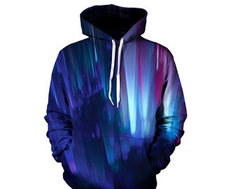 Northern Lights Hoodie - Blast Off Into Space - Festival Clothes - Rave Concert Hoody