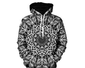 Mandala Art Print Hoodie   Black and White Clothing   Trippy Sacred Geometry   Psychedelic Flower Sweatshirt