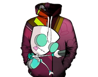 Invader Zim Gir Hoodie - Cartoon Network Artwork Clothing - Cool Clothes - Best Festival Hoodies