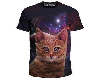 Space Cat T-Shirt - Kitten Tee - Festival Clothing - Psychedelic Shirt - Trippy T - Digital Art