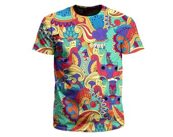 e32842abe Psychedelic T-Shirt | Trippy Paisley Floral All Over Print Tee | EDM Rave  Festival Clothing | Gift for Men or Women