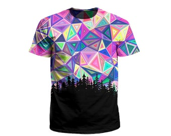 ade363001 Geometric Forest Galaxy T-Shirt | Psychedelic Sacred Geometry All Over Print  Nature EDM Rave Festival Clothing | Gift for Men or Women