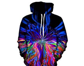 Psychedelic Hoodie - Trippy Hoodies - Music Festival Clothing - Light Show - EDM Sublimation Clothes - Raver Art Print Hoody