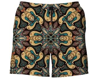 445a457cb816d Mens Swimwear - Psychedelic Mandala Swim Trunks - Geometric Bathing Suit  for Men