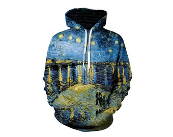 bb0c22e93 Psychedelic Van Gogh Inspired Starry Night Hoodie - Trippy Impressionism  Nature Art All Over Print Couples Hoodies - Gifts for Him and Her