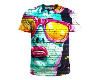 4230958b Retro Graffiti T-Shirt - Psychedelic Street Art All Over Print Rave T Shirts  - Trippy Urban Tees - Colorful EDM Music Festival Clothing