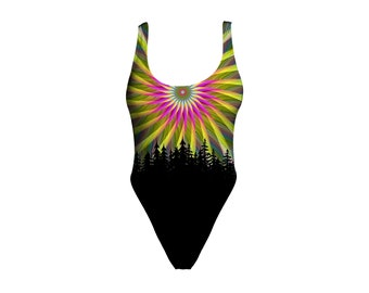 18ea84fa179f6 Psychedelic One Piece Swimsuit - Printed Girls Bathing Suit - Nature  Onepiece - Rave Bodysuit Outfit