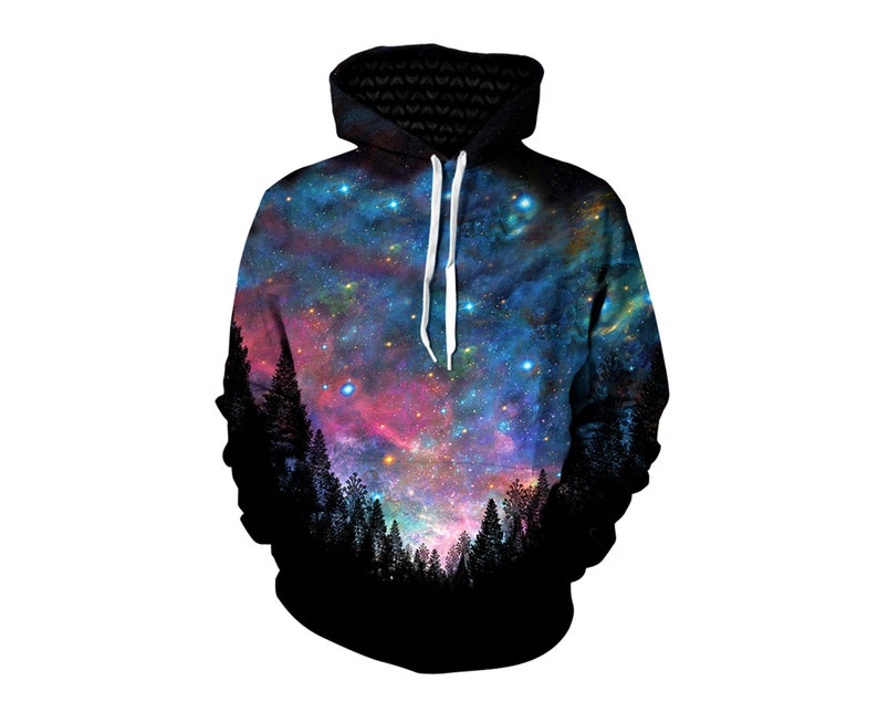 a5137effd Galaxy Hoodie Trippy Alien Nature Hoodies Printed Festival | Etsy