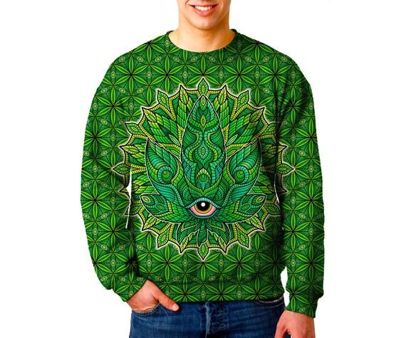Pot Leaf Trippy Spiral Mens Fleece Hoodie Sweatshirt