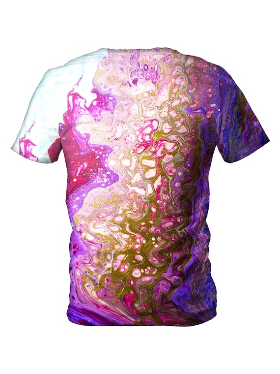 Gold Marbling T Shirt | Psychedelic Marbled Paint All Over Print EDM Rave Festival Clothing | Gift for Men or Women