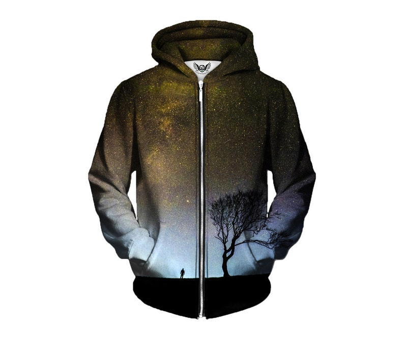 4966a6bbf Space Zip-Up Nature Hoodie Nebula Forest Psychedelia Art | Etsy