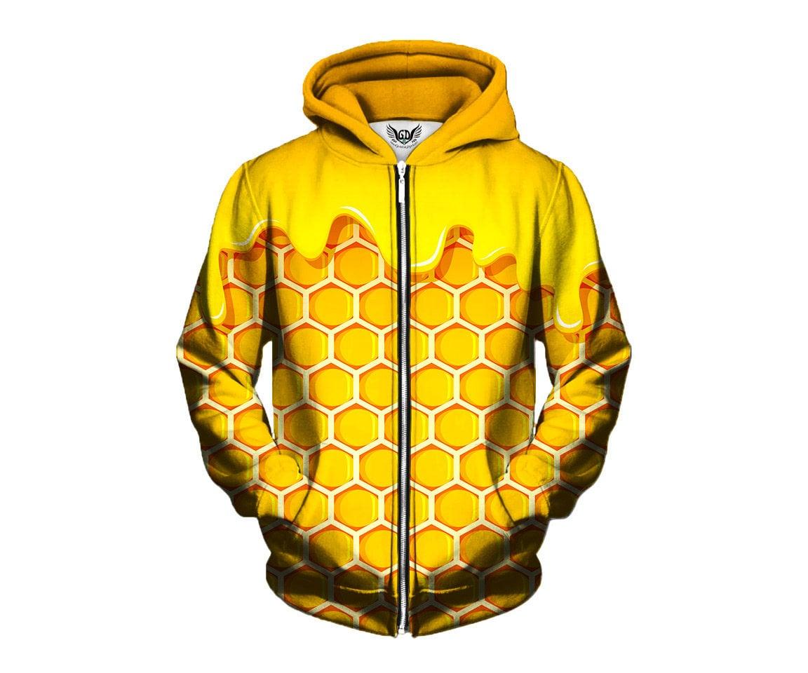 Bho Beehive Zip Up Hoodie Hash Oil Honeycomb Jumper Weed Etsy Cotton Ml