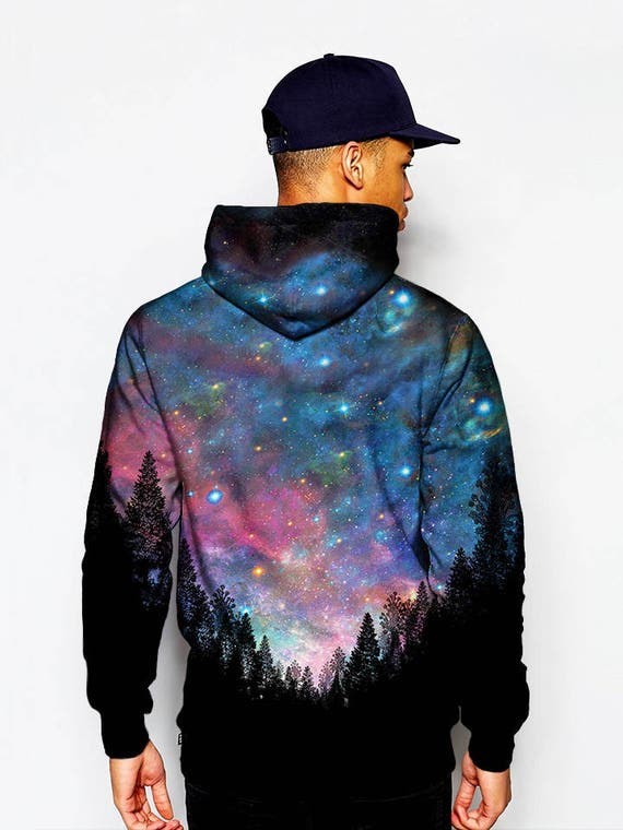 klare Textur neue Fotos bestbewertetes Original Galaxy Hoodie - Trippy Alien Nature Hoodies - Printed Festival Clothing -  EDM Rave Wear