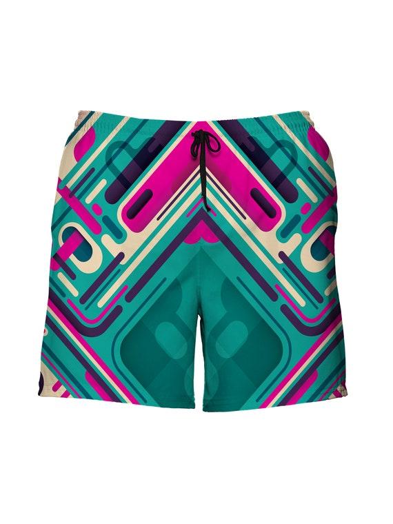 Womens Board Shorts Beach Quick Dry Grateful Print High Waist Summer Casual Hot Pants with Pockets