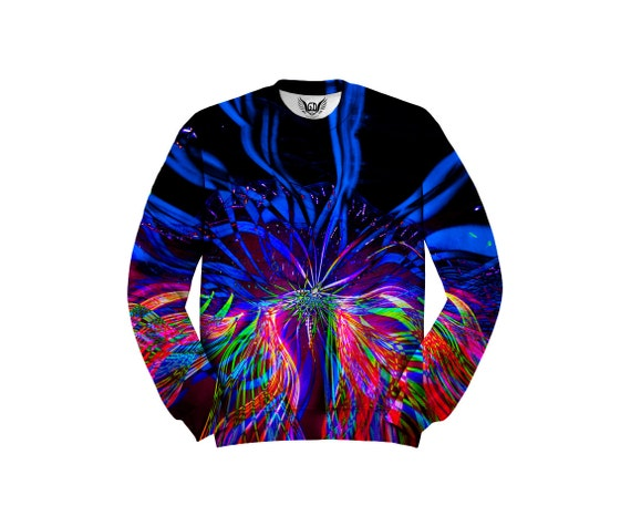 Trippy Sweater Psychedelic Sweat Shirt Light Show Festival Clothes All Over Print Raver Fashion