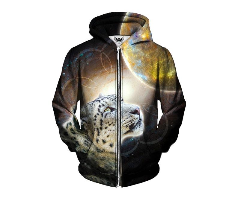 3198820856ca Animal Hoodie Geometric Snow Leopard Space Zip Up Cat | Etsy