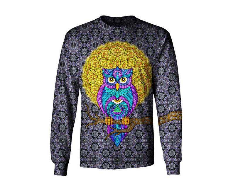 4afba3b535e87 Hibou trippy manches longues Art Tee Shirts oeuvre