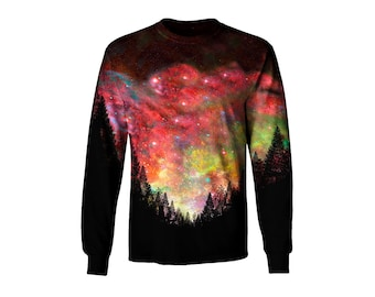 Hippie Forest Galaxy Long Sleeve T-Shirt - Woods Space Art - Rave Clothing - Festival Apparel GUmsdsp