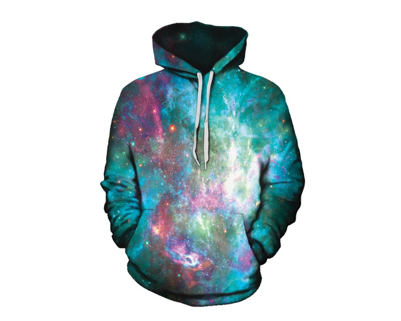 5ab6f3506 Space Hoodie Blue Green Pink Galaxy Festival Clothing