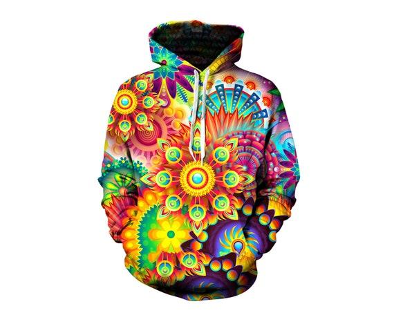 später zuverlässiger Ruf günstig kaufen Psychedelic Art Hoodie - All Over Print Pullover - Detailed Graphics