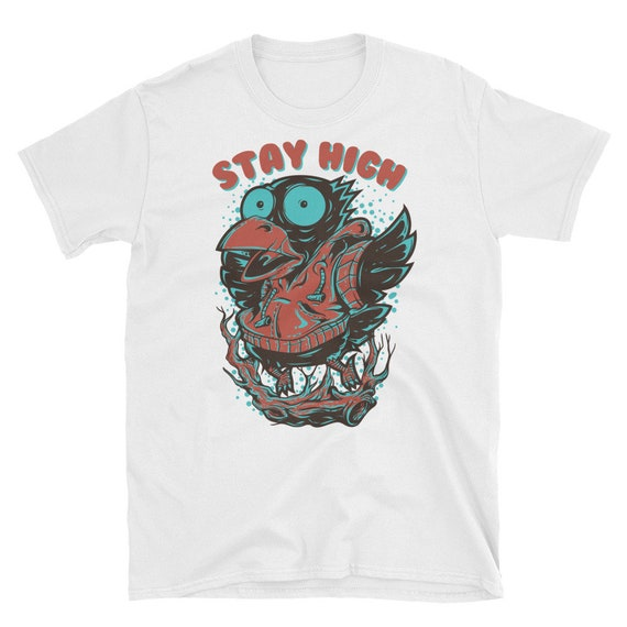 Funny Crow Graphic Tee | Psychedelic Animal Art EDM Music Festival Clothing | Gift for Men or Women