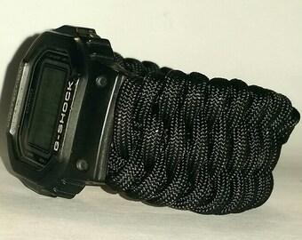 6bf1e8dc4be Trilobite Paracord Survival Watch Band - Single Color - Choose Your Color    Size