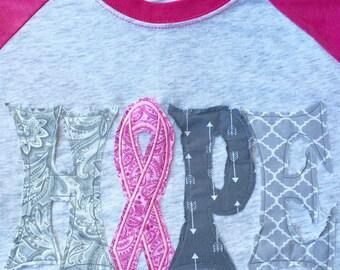 Breast Cancer Awareness Hope Raggy Letters Raglan Tee Neon Pink Baseball