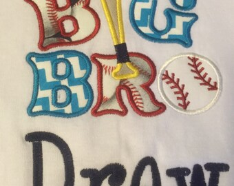 Applique Big Brother Baseball Tee Personalized