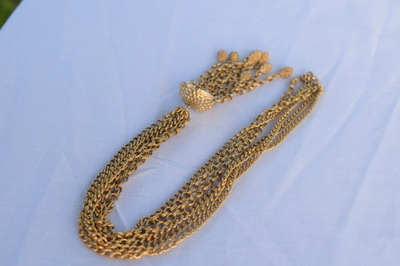 Vintage gold tone chain link tassle necklace. Mul… - image 5