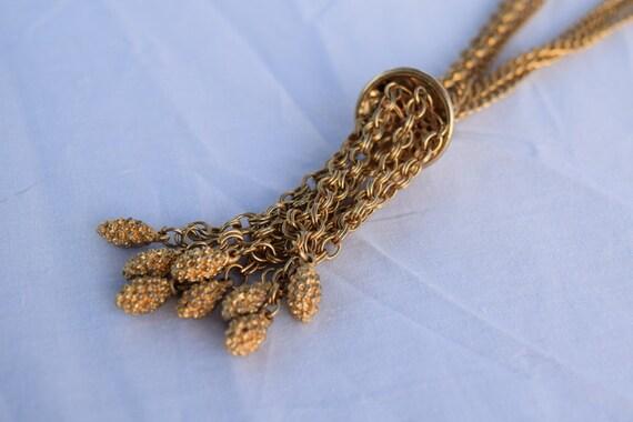 Vintage gold tone chain link tassle necklace. Mul… - image 3