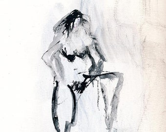 Ink and Gesso Figure