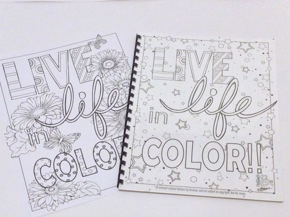Live Life in COLOR coloring book | Etsy