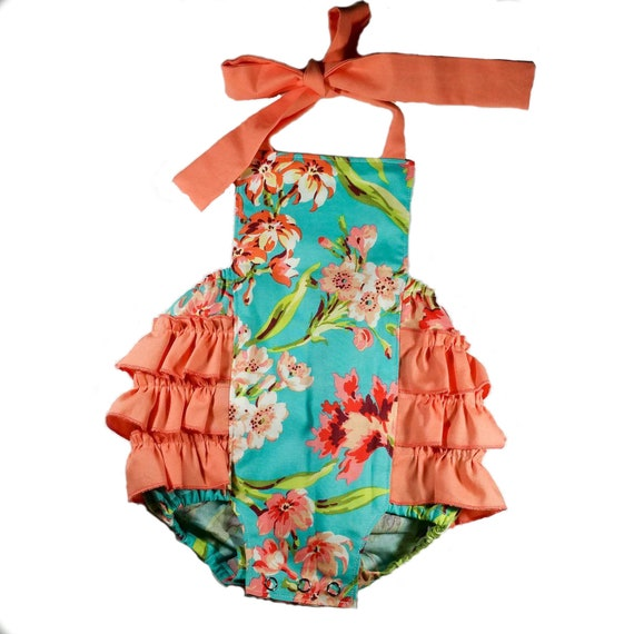 Tropical Baby Romper Bubble Romper Teal and Coral Romper