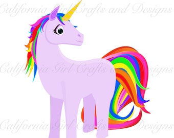 Rainbow Unicorn Clipart - Singles Pack - Instant Download - 1 high-quality image