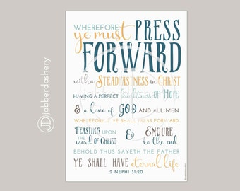 Press Forward Saints Slate Color Four Sizes Typography 2016 LDS Mutual Theme Poster Binder Covers Mormon Art Subway