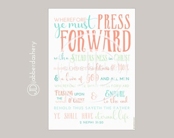 Press Forward Saints Peach Color Four Sizes Typography 2016 LDS Mutual Theme Poster Binder Covers Mormon Art Subway